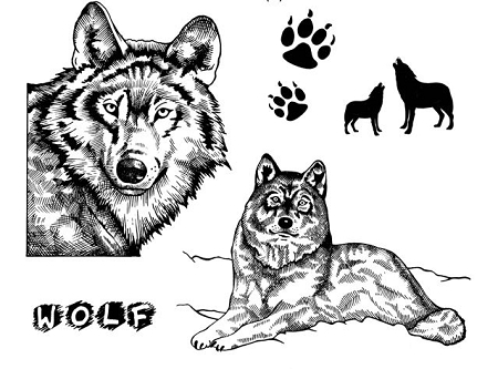 Wolves 5 Cling Mounted Rubber Stamps