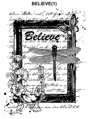 BELIEVE  1 STATIC MOUNTED RUBBER STAMP