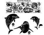 DOLPHIN TALE (4) STATIC MOUNTED RUBBER STAMPS