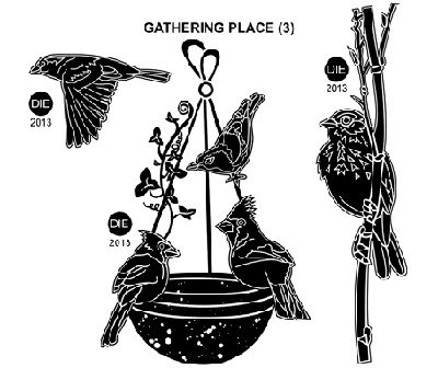 GATHERING PLACE(3) STATIC MOUNTED RUBBER STAMPS