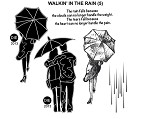 WALKING IN THE RAIN (5) STATIC MOUNTED RUBBER STAMPS