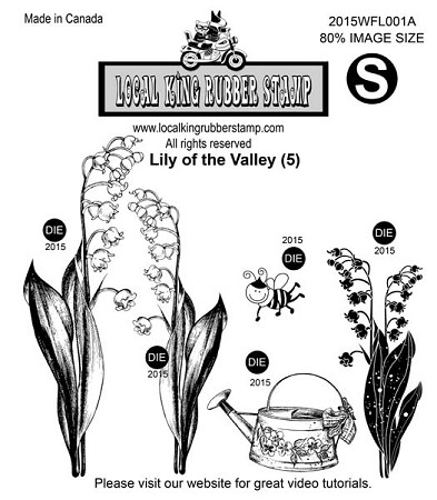 LILY OF THE VALLEY(5) STATIC MOUNTED RUBBER STAMPS