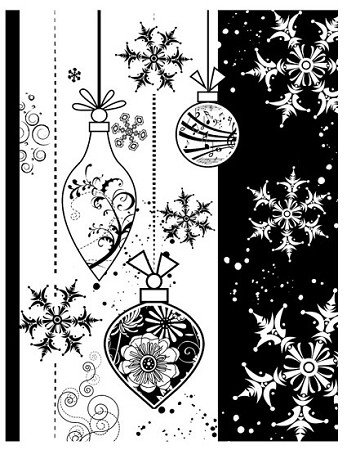 CHRISTMAS ORNAMENT 1 STATIC MOUNTED RUBBER STAMP