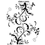 SWIRLY VINES 1 STATIC MOUNTED RUBBER STAMP