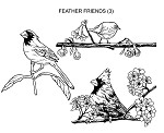 FEATHERED FRIENDS (3) CLING MOUNT RUBBER STAMPS