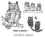 HOOTERS (4) CLING MOUNTED RUBBER STAMPS