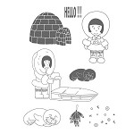 ESKIMO GIRL (9) STATIC MOUNTED RUBBER STAMPS
