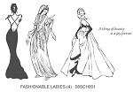 FASHIONABLE LADIES (4) STATIC MOUNTED RUBBER STAMPS
