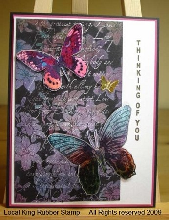 BUTTERFLIES (5) CLING MOUNTED RUBBER STAMPS