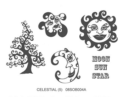 CELESTIAL (5) CLING MOUNTED RUBBER STAMPS