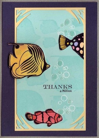 TROPICAL FISH (5) CLING MOUNTED RUBBER STAMPS